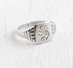 Vintage Sterling Silver Letter S Signet Ring - Antique Size 7 3/4 Art Deco 1930s Monogrammed S Signed OB Ostby & Barton Initial Jewelry by Maejean Vintage on Etsy, $98.00