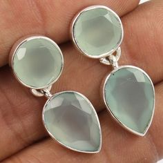925 Sterling Silver Stud Earrings Natural AQUA CHALCEDONY Gemstone FREE SHIPPING #Unbranded #Stud