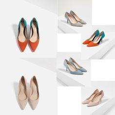 2016夏新款ZARAOL三色細跟女鞋尖頭拼色高跟涼鞋真皮淺口裸色單鞋