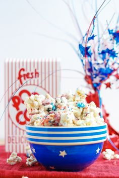 """Firecracker popcorn mix is the perfect sweet, salty, festive snack to add a little """"pop"""" to your Fourth of July party this year.  This mix features Pop Rocks to give your tastes buds an explosion of flavor.  Kids and adults alike will love the popping of """"firecrackers"""" in their mouth -. Strawberry Blondie Kitchen"""