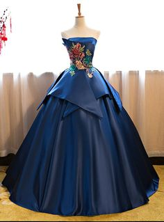 Cheap Prom Dresses Blue Floor Length Satin Wedding Gown Featuring Floral Embroidered Strapless Straight Across Bodice And Lace-Up Back Navy Blue Prom Dresses, Strapless Prom Dresses, Elegant Prom Dresses, Cheap Prom Dresses, Quinceanera Dresses, Dresses Uk, Ball Dresses, Pretty Dresses, Dress Prom