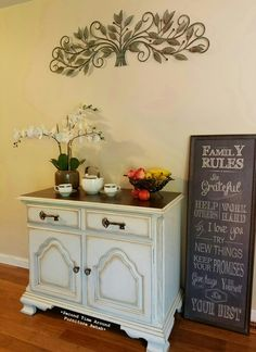 Buffet Server painted Shabby PAINTS Worn White with brown revax and stained top
