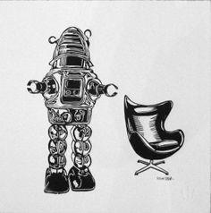 Robot et Fauteuil II Linocut Eric Rewitzer Robot, 3 Fish, Artwork, Studios, Artists, Tattoos, Accessories, Work Of Art, Tatuajes