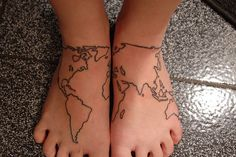 A travel tattoo.  I have wanted to immortalize all of my adventures into a tattoo, and have it so I can keep adding on to it.  This is an image I have seen before, and it keeps appearing...I think this is a design to seriously consider...A little dot or star to mark places I have been to!