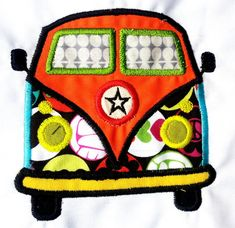 Volkswagen Style Camping Camper Van Bus Applique. Machine Embroidery Design Digitized File on Etsy, $4.62