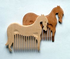 Wooden Hair Comb Horse Hand Carved Natural. Only brown. Head Handle - Ready to Ship on Etsy, $15.00