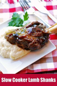 Slow Cooker Lamb Shanks: These flavorful, tender, fall-off-the-bone lamb shanks are browned in olive oil, then slowly cooked in a slow cooker with broth and aromatics until very tender. Lamb Chops Slow Cooker, Crockpot Lamb, Slow Cooked Lamb Shanks, Braised Lamb Shanks, Crockpot Dishes, Lamb Chop Recipes, Meat Recipes, Cooking Recipes, Recipies