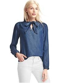 Denim tie-neck top