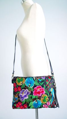 Boho Crossbody Bag Embroidery Clutch Bag Hmong by pasaboho