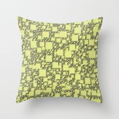 Windy Yellow Squares Throw Pillow - $20.00  #cushion #pillow #dorm #homedecor #yellow #pattern #geometric #squares