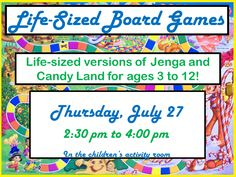 Like board games? You'll love life-sized versions of Jenga and Candy Land!