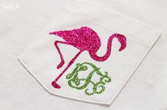 Glitter Monogram Pocket Tee Shirt Flamingo Short Sleeve Shirt Preppy Shirt Monogrammed Pocket Shirt on Etsy, $30.00