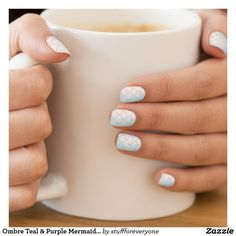 Ombre Teal & Purple Mermaid Scale Nail Art Decals Minx® Nail Wraps