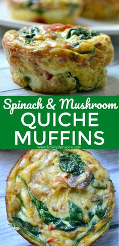 Spinach Quiche Muffins are easy to make ahead and just heat them up each morning. Have along with oatmeal for a great clean eating breakfast. | www.ToSimplyInspire.com