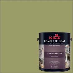 Kilz Complete Coat Interior/Exterior Paint & Primer in One #LG140-01 Retro Lime, 1 gal, Flat, Green