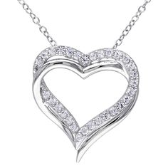 "5/8 CT. T.W. Created White Sapphire Shared Prong Heart Pendant Necklace in Sterling Silver (18"")"