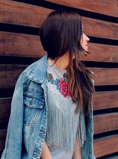 Fringes and flowers in my T-shirt + denim jacket. Little black coconut style.