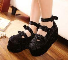 Want!!!!!  Style Velvet Platform Heel Pump Black