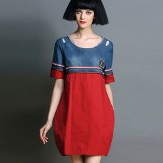 Fashion Womens Handmade Embroidery Denim Cotton Stitching Hit Color Bud New Autumn Dress