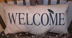 UNSTUFFED Pillow Primitive Country Welcome Crow Rustic Home Decor Cover Throw in Home & Garden, Home Décor, Pillows | eBay