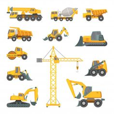 Transport Pictures, Construction Machines, Black And White Marble, Construction Birthday, Cute Gif, Cartoon Styles, Tractors, Art For Kids, Kids Rugs