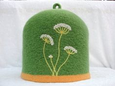 Felted Teapot Cozy with needle felted Queen Anne's by Susietoos, $82.00