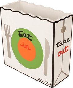 Take Out Menu Box - OPEN STYLE - Everyone will love this durable, wooden Take Out Menu Box that will help organize your kitchen. It is a box that every household needs!  Makes a great gift for any family, newlywed couple or for anyone who loves to order takeout.  Put some local take out menus inside and give it as an original and fun housewarming present.  What a great way to welcome a new family to the neighborhood!