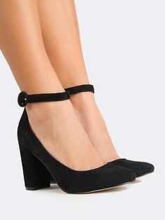 955167393 New-Women-Closed-Toe-Buckle-Ankle-Strap-Classic-. Salto Alto Preto  FechadoSapatilhas FemininasSapatos ...