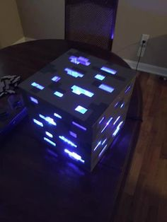 Minecraft Diamond Ore Lamp : 11 Steps (with Pictures) - Instructables Minecraft Bedroom Decor, Minecraft Room, Minecraft Games, Minecraft Crafts, Minecraft Houses, Minecraft Mobile, Minecraft Light, Minecraft Party Decorations, Cool Ideas