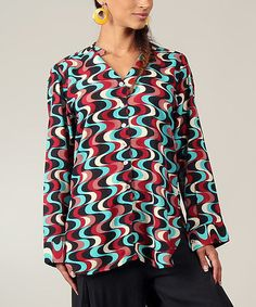Red & Black Wave Bell-Sleeve Button-Up by Aller Simplement #zulily #zulilyfinds