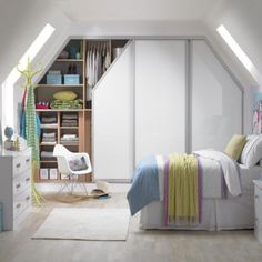 Angled sliding wardrobes bedroom