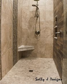 Double showers are a real luxury! Check out the mitered corners on that tile! Natural Showers, Underwater Lights, Double Shower, Bathroom Tile Designs, Wood Look Tile, Shower Time, Rustic Contemporary, Rustic Bathrooms, Bathroom Styling