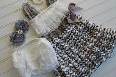 Grey Chevron and White Petti Dress with Matching by TheRuffledbum, $39.95