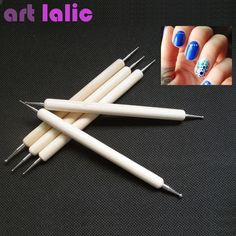 Nieuwe hot koop 5 Stks 2 Way Nail Art Hout Pen PUNTJES Marbleizing Schilderen Tool Fashion hoge kwaliteit
