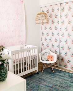 Project Nursery On Instagram Is That Wallpaper Covering The Sliding Closet Door What A Fun Pop Of Pattern In This Sweet E