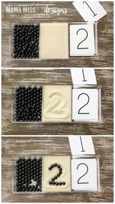 Pattern Play and Number Cards Pattern Play & Number Cards, 2 math activities to reinforce counting skills & visual discrimination, plus a literary component with the book Ten Black Dots // Montessori Materials, Montessori Activities, Preschool Learning, Kindergarten Math, Educational Activities, Preschool Activities, Teaching, Montessori Toddler, Math Numbers