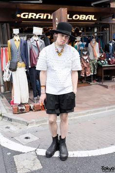 Aran w/ Juun.J Embossed Top, Mawi Necklace & Julius Boots Harajuku Fashion, Japan Fashion, Harajuku Style, Juun J, Hipster, Street Style, Guys, Stylish, Boots