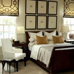 Love the symmetrical grouping over the bed…picturing  4 square(ish) black and whites