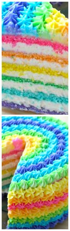 Rainbow Cake ~ The happiest cake you'll ever eat! The vibrant colors will add the perfect touch to any celebration!