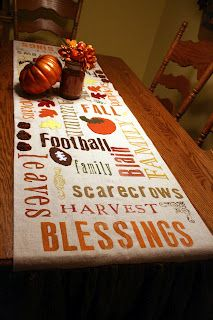 Autumn Subway Art stenciled onto a burlap table runner - very nice!