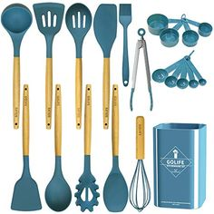 """Amazon has the GOLIFE Silicone Cooking Utensil Set, Kitchen Utensils 20 PCS Cooking Utensil Set, Non-stick Heat Resistant Cookware, Silicone Wooden Kitchen Tool Set Gifts (Dark Blue) marked down from $34.99 to $17.49. That is 50off retail price! TO GET THIS DEAL: GO HERE to go to the product page and click on """"Add to…"""