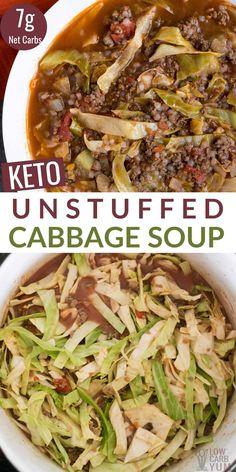 Low Carb Soup Recipes, Cabbage Soup Recipes, Diet Recipes, Cooking Recipes, Healthy Recipes, Cabbage Soup Diet, Cabbage Meals, Gumbo Recipes, Cabbage Roll Soup