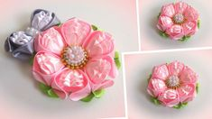 Цветы из лент, канзаши, МК/ DIY satin ribbon flower, kanzashi