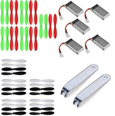 JJRC 1000 2.4GHz Quadcopter Drone Propellers Blades Battery Combo 10x Props 5x LiPo Batteries 380mAh 2x U-Wrench Prop Blade - FAST FROM Orlando, Florida USA! *** Click image to review more details.