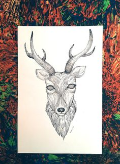 Deer Head Art Drawing Original Art Pen and Ink by Happy2cycle