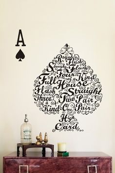 Poker wall decal would be great in a game room! Classe D'art, Poker Hands, Pokerface, Poker Party, Poker Chips, Casino Party, Do It Yourself Home, Wall Decals, Wall Art