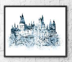 Hogwarts Castle Aquarell Print Harry-Potter-Kunst von gingerkidsart