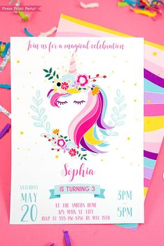 Start your unicorn party right with this gorgeous unicorn invitation printable. Your guests will be delighted with this fun theme. Unicorn Party Invites, Unicorn Birthday Invitations, Printable Birthday Invitations, Unicorn Birthday Parties, Birthday Party Decorations, Party Invitations, Minion Birthday, Printable Party, 9th Birthday