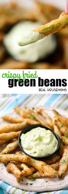 Now that we're heading into Fall and football season, it's time for all kinds of party foods. These Crispy Fried Green Beans with Wasabi Mayo are easy to whip up and they are always the first thing to get eaten at parties! via @realhousemoms