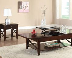 Awesome Dark Cherry Wood Finish Occasional Collection pc Set